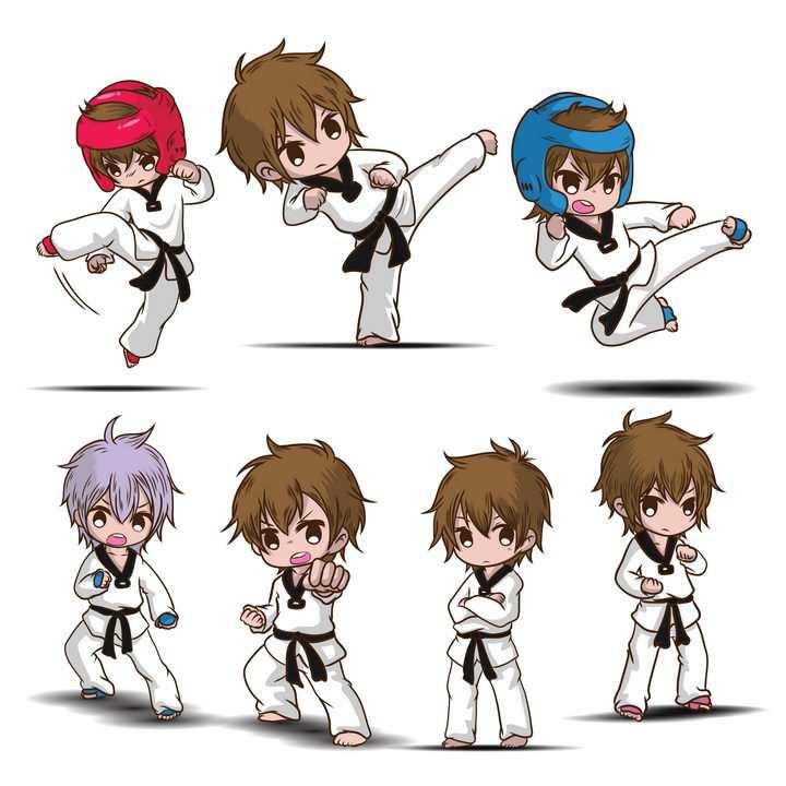 正在打跆拳道练习武术的卡通小男孩图片免抠矢量素材