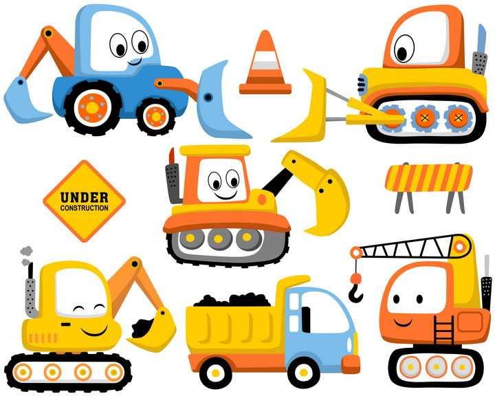 各种卡通风格推土机挖掘机挖土机吊车卡车等工程机械图片免抠矢量素材