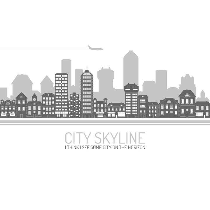 灰色黑色风格的城市建筑天际线轮廓图片免抠矢量图素材