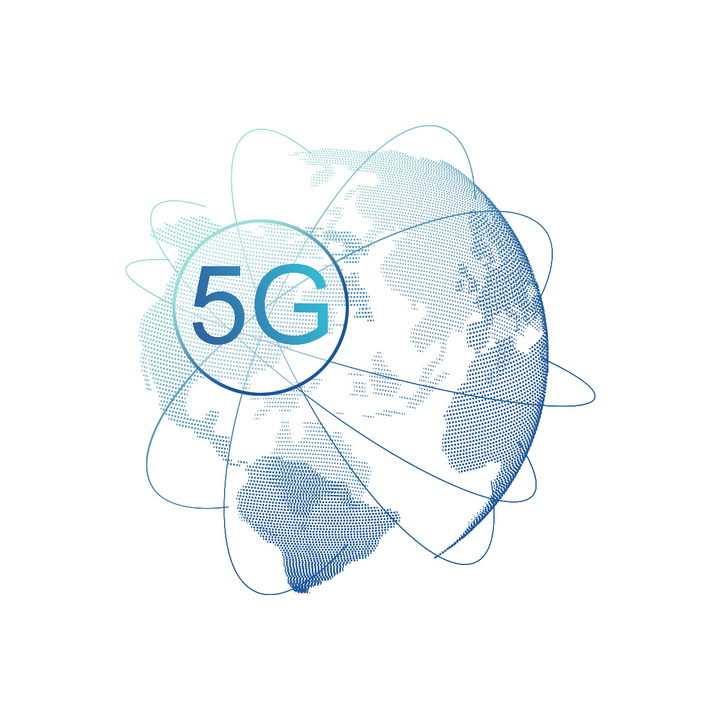 环绕在点阵地球上的5G技术图片免抠png素材