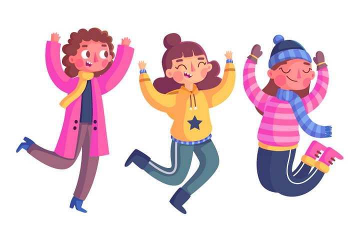 3款高兴得跳起来的卡通女孩图片免抠矢量图素材