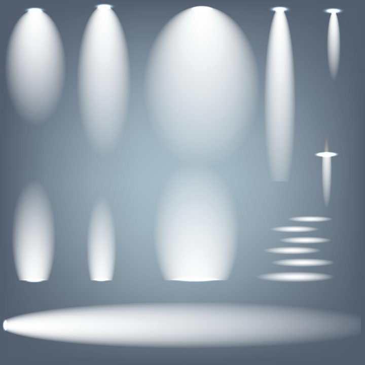 各种椭圆形的白色灯光照射效果图片免抠矢量素材