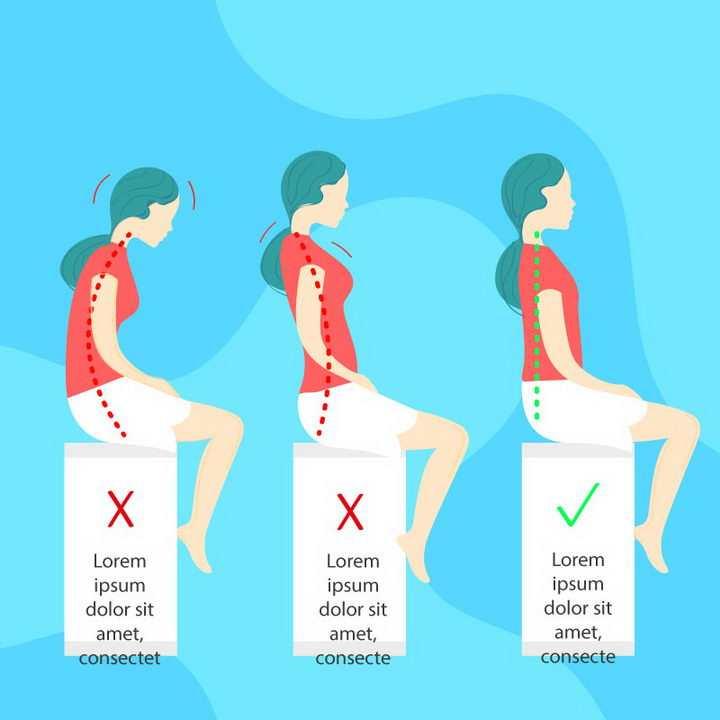 扁平风格2种错误坐姿和正确坐姿对比图图片免抠素材