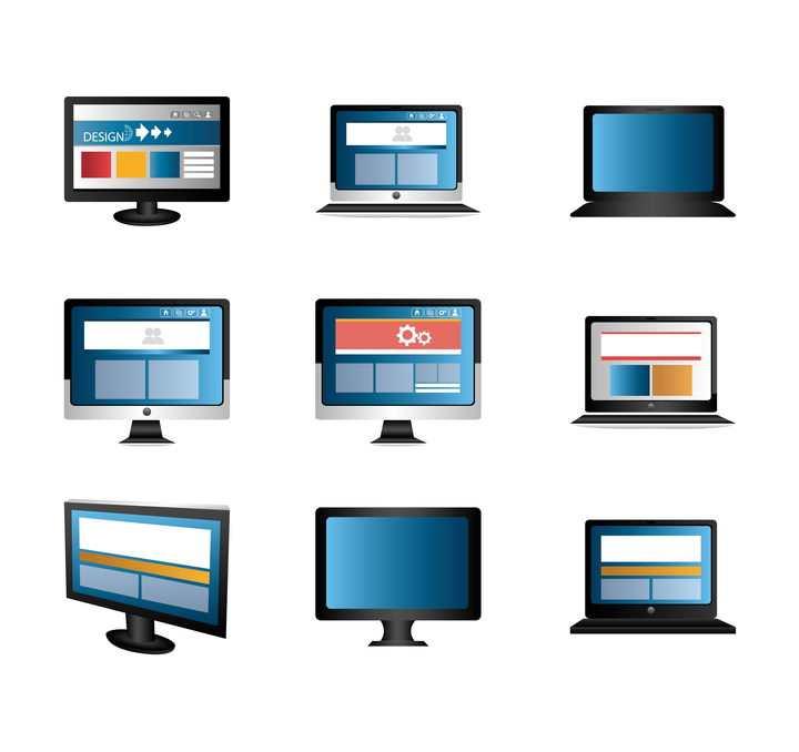 9款电脑显示器笔记本图标图片免抠素材