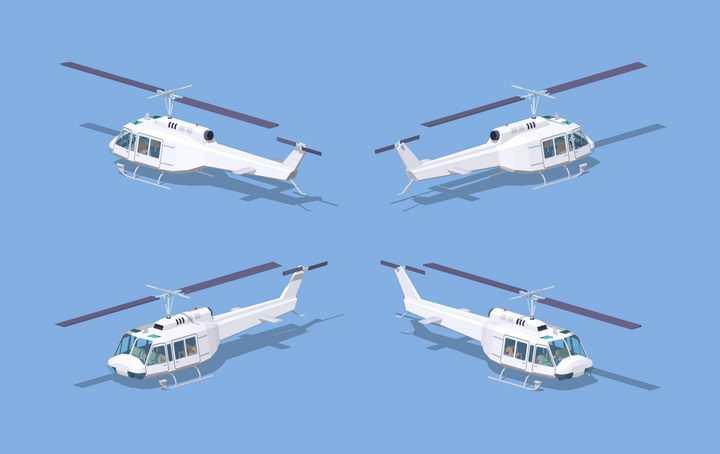 2.5D风格四个视角的白色直升飞机图片免抠素材