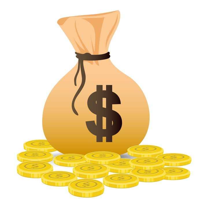 画有美元符号标志的钱袋和金币图片免抠矢量素材