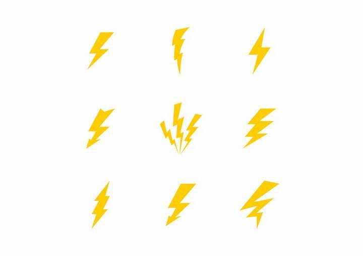 9款卡通黄色闪电标志图案图片png免抠素材