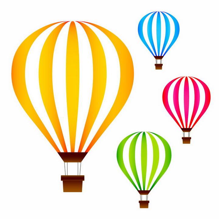 4款彩色条纹状热气球图片png免抠素材 装饰素材-第1张