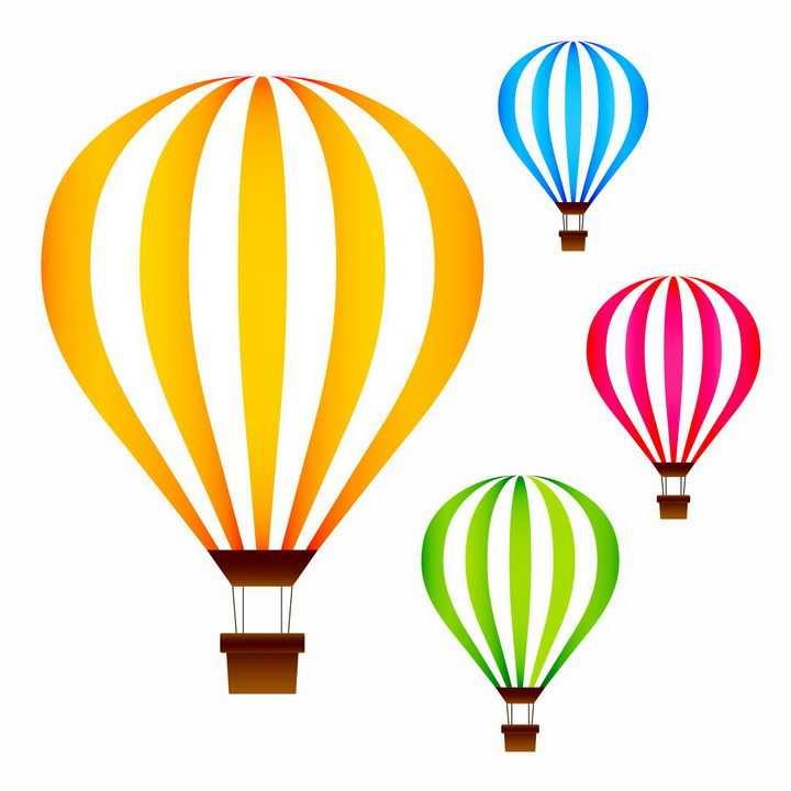 4款彩色条纹状热气球图片png免抠素材
