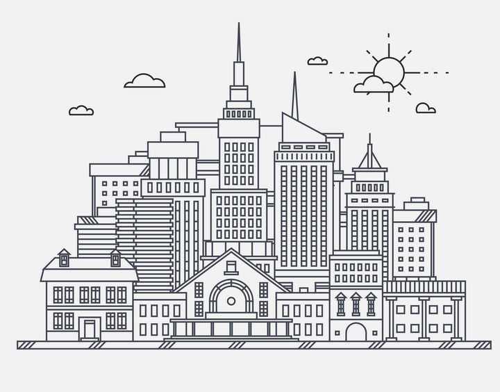 线条高楼大厦城市天际线图片免抠矢量图素材