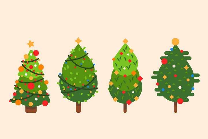 4款扁平化风格圣诞节圣诞树图片免抠矢量素材