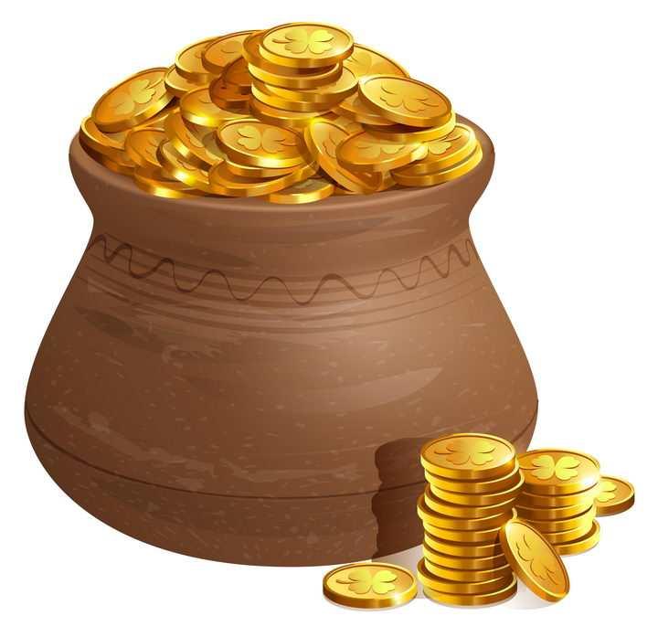 坛子中满满的金币图片免抠矢量素材
