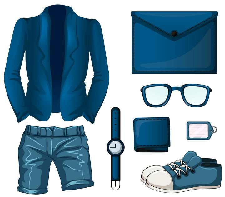 漫画风格男士西装短裤手表皮夹子眼镜和皮包图片免抠素材