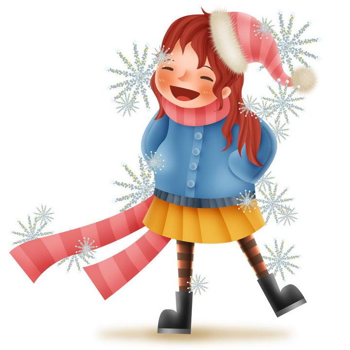 戴着圣诞帽的可爱卡通女孩图片免抠png素材 人物素材-第1张