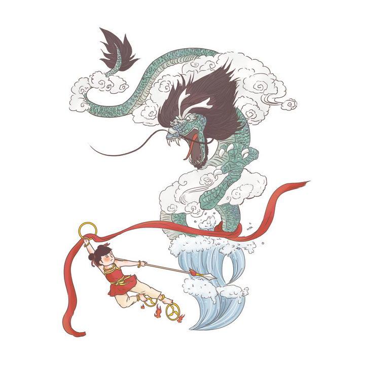 哪吒闹海中国传统神话人物传说故事手绘彩色插图图片免抠png素材 教育文化-第1张