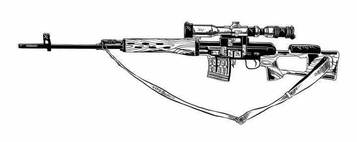 黑白手绘风格狙击步枪武器装备图片png免抠素材