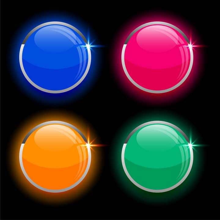 4款彩色玻璃效果圆形水晶按钮图片免抠矢量素材