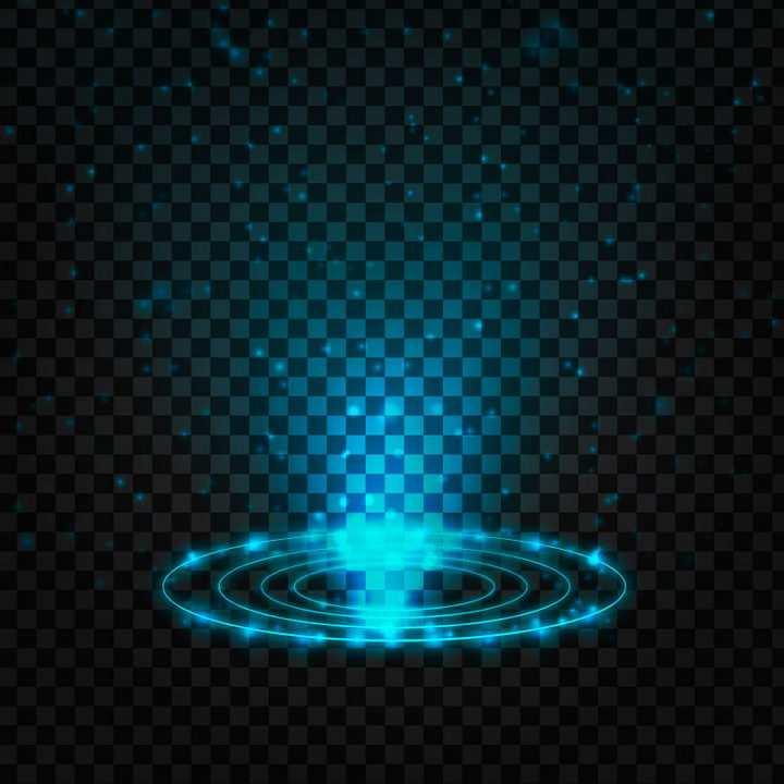 蓝色光圈和发光效果图片免抠矢量图素材