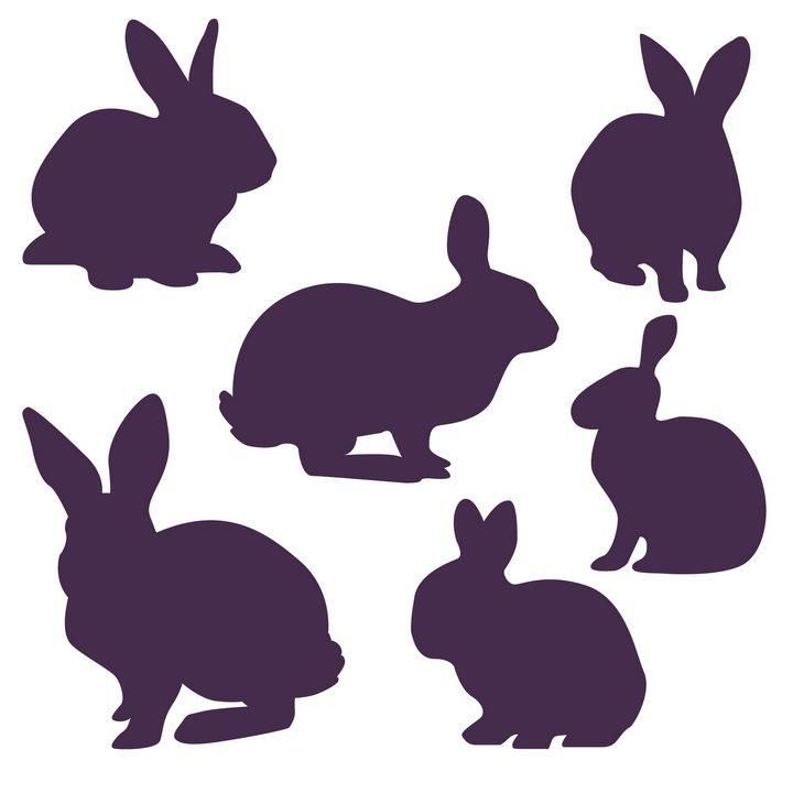 6款紫色小兔子剪影图片免抠矢量素材