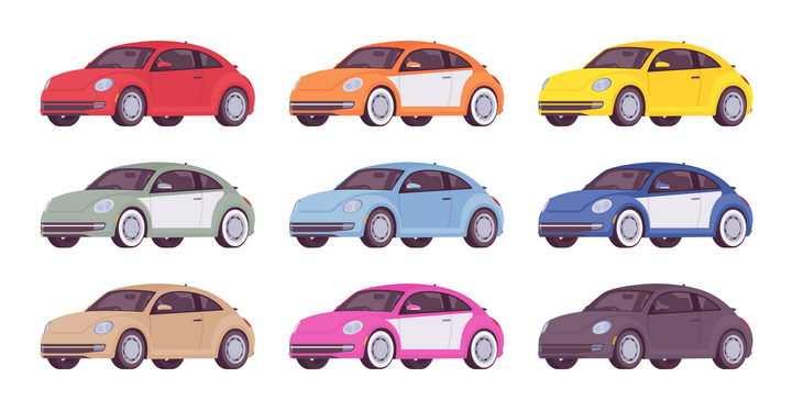 9款卡通风格小汽车大众甲壳虫汽车图片免抠矢量素材
