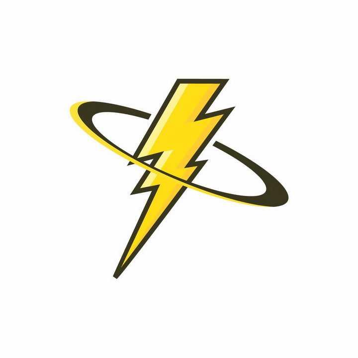 黄色闪电标志黑色描边logo设计图案图片png免抠素材