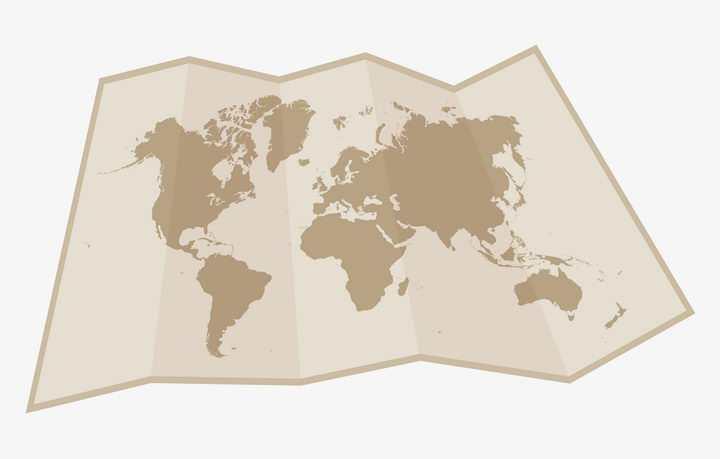 展开的折叠复古世界地图纸张图片免抠矢量素材