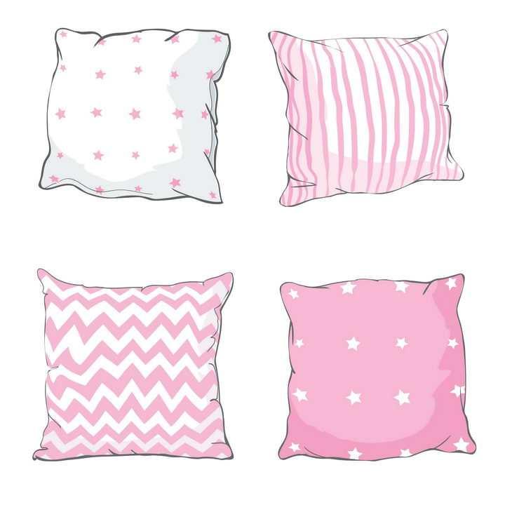 4款手绘风格条纹和星星状枕头抱枕图片免抠矢量素材
