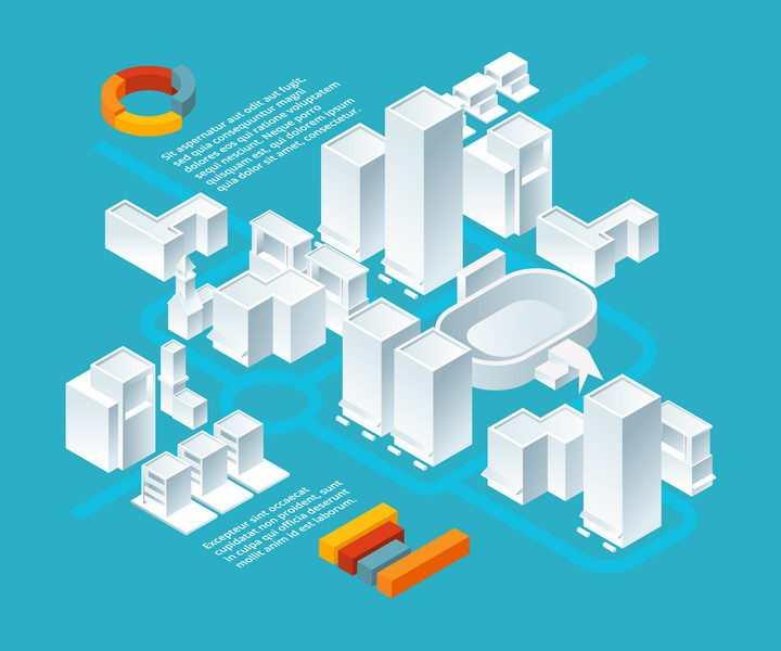 2.5D城市建筑空白模型图片免抠矢量素材