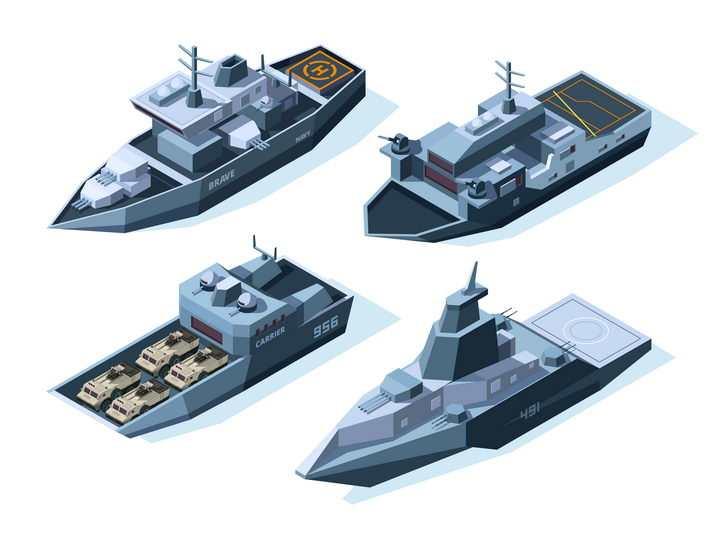 4款2.5D风格战舰登陆舰军舰图片免抠矢量素材