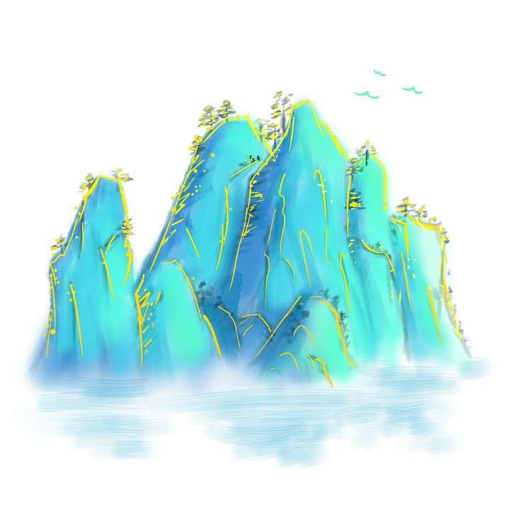 带有金丝装饰的的海蓝色水墨画高山风景图图片免抠png素材