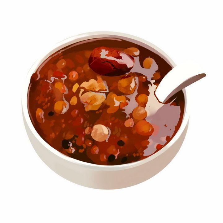 一碗美味的彩绘红枣腊八粥八宝粥养生粥腊八节传统美食图片免抠png素材 生活素材-第1张