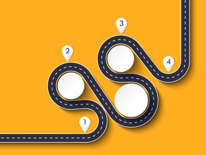 复杂弯曲的立交桥风格公路道路步骤图流程图时间轴图片免抠矢量图