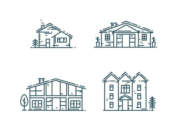4款MBE风格线条房子免抠矢量图素材