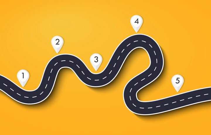 弯曲的道路公路步骤图流程图和白色定位标志图片免抠矢量图