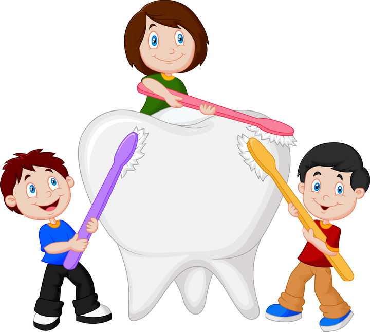 卡通小孩拿着牙刷正在给一个大牙齿刷牙图片免抠矢量素材