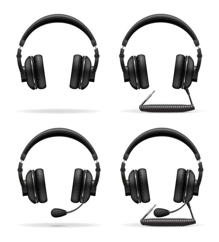 4款逼真的黑色耳机耳麦图片免抠素材