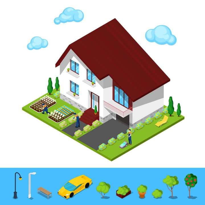 2.5D风格小洋楼别墅和门口的花圃图片免抠矢量素材