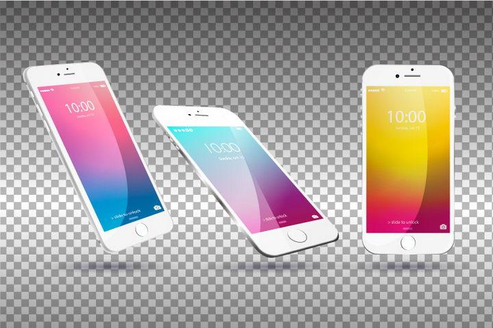 三个不同角度的白色iPhone样机图片免抠矢量素材 样机-第1张