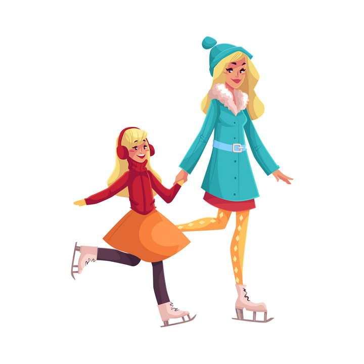 插画风格牵着女儿手的年轻妈妈正在一起溜冰母女温情图片免抠矢量图素材