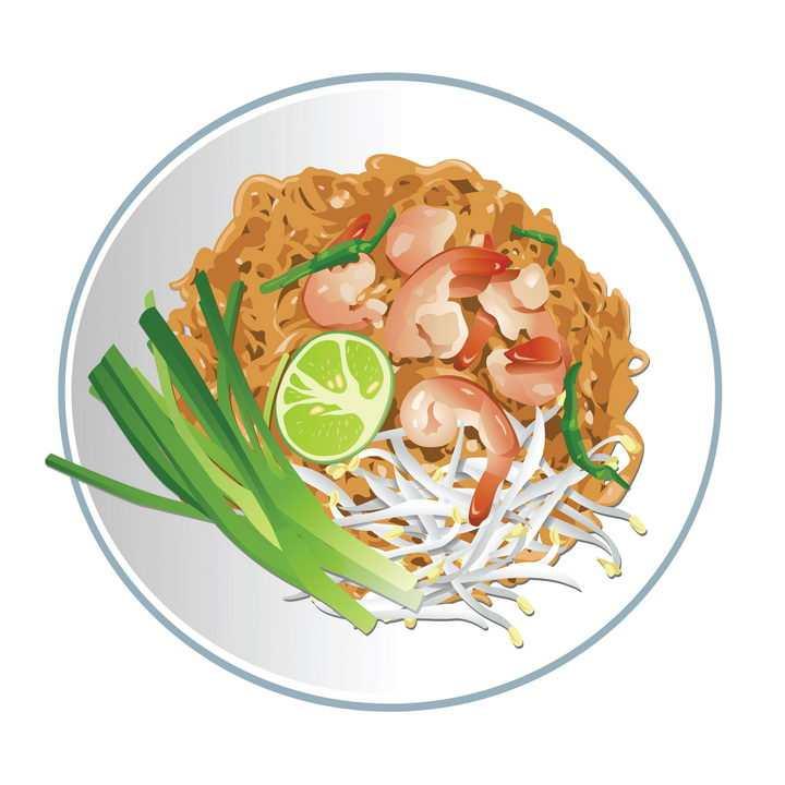 一盘虾仁干拌面美食图片免抠矢量素材