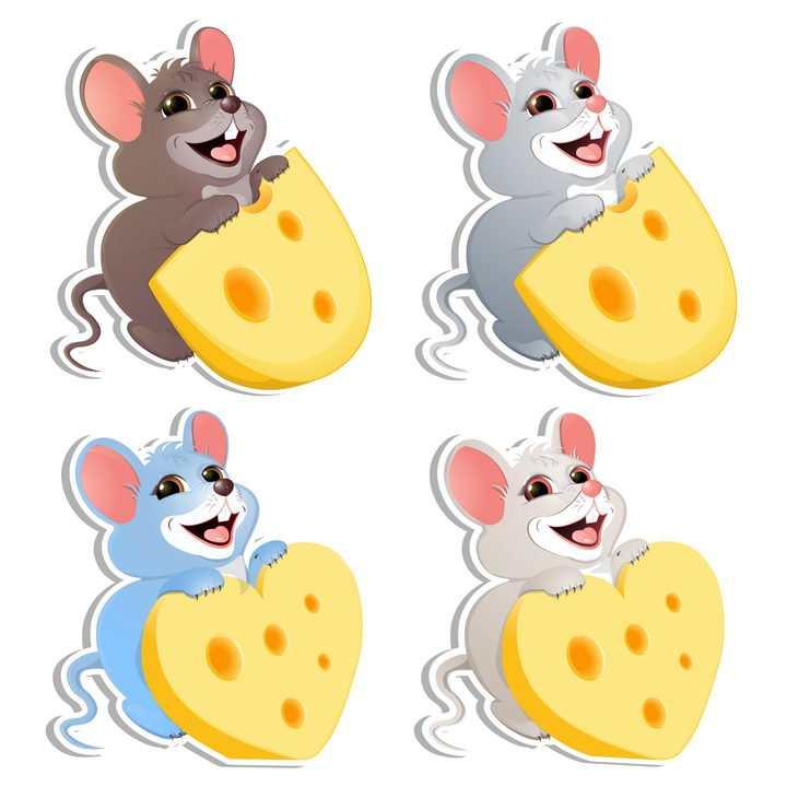 4款可爱吃奶酪的卡通老鼠图片免抠矢量图素材