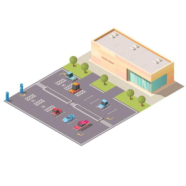 2.5D风格卡通大型超市城市停车场图片免抠矢量图素材