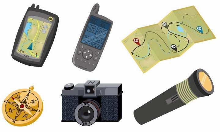 GPS定位系统地图指南针照相机手电筒等户外旅行装备图片png免抠素材