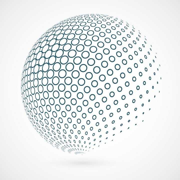 创意圆点圆环组成的立体球体装饰图案图片免抠矢量素材