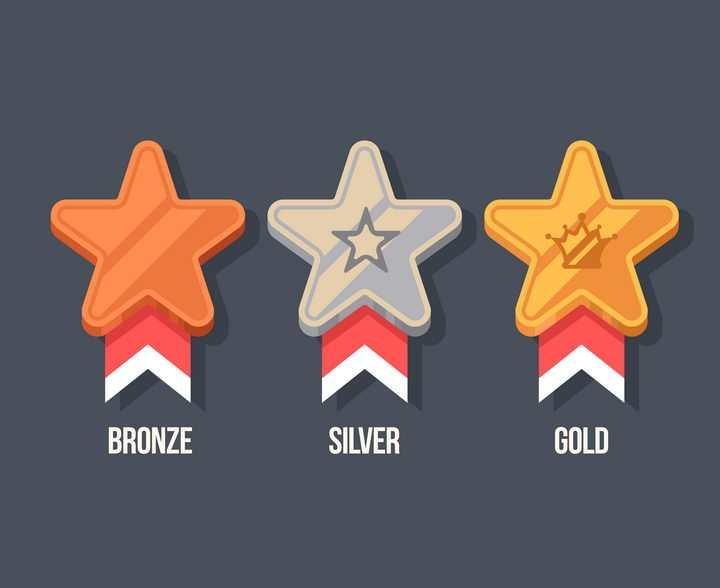 卡通五角星风格金牌银牌铜牌等奖牌图片免抠矢量素材