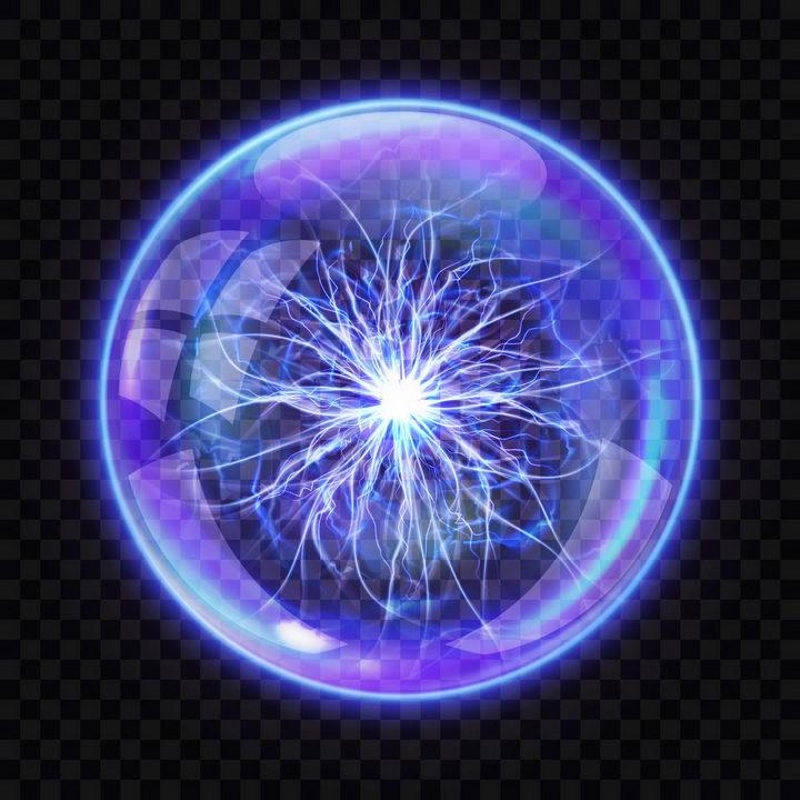 蓝色半透明的球形闪电球状闪电图片png免抠素材 效果元素-第1张