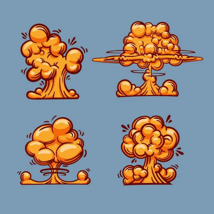 4款手绘插画风格蘑菇云爆炸效果图片免抠素材