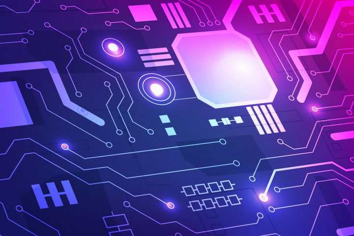紫色蓝色风格的电子电路图案背景图片