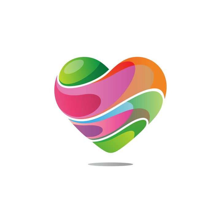 彩色心形logo设计方案图片免抠矢量素材