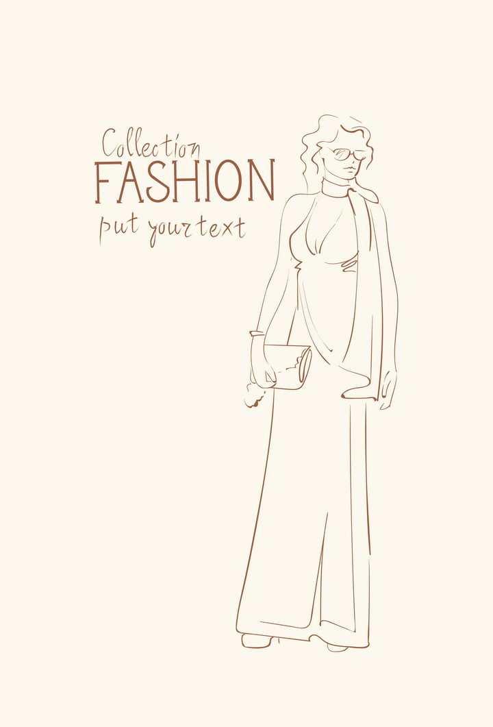 简约线条风格时尚拿着小包参加晚会女装时装设计草图图片免抠矢量素材